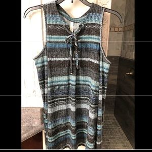 Blue striped long sleeve with cut out shoulders